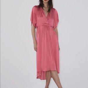 Zara Satin Effect Dress XS Flowy Pink Midi